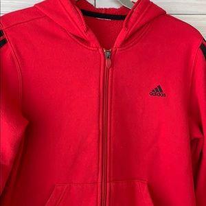 Classic Red Adidas Hoodie Zip Up Sweatshirt